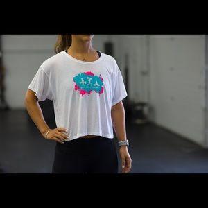 🆕 Barbell Babes Splatter Logo Flowy Boxy Tee M